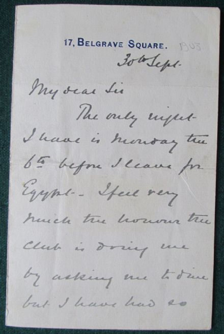 Field Marshal 1st Earl Kitchener Signed Letter 1903 - Busy Schedule before Egypt